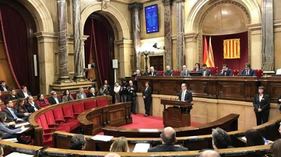 Turull, durante su intervención en el Parlament