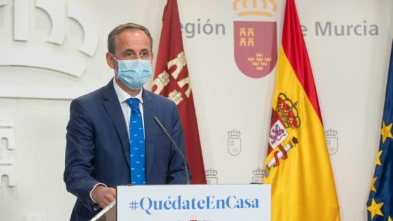Javier Celdrán durante la rueda de prensa del Consejo de Gobierno.