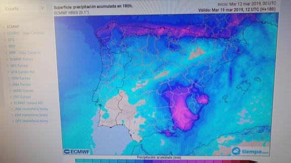 Mapa de estimación de precipitaciones para la próxima semana