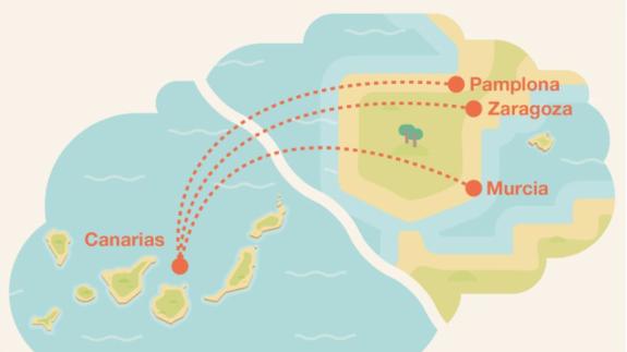 Los vuelos entre Murcia y Canarias se ponen a la venta el próximo lunes desde 210 euros