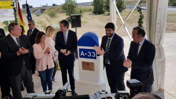 Inauguración de las obras de la A33 en Caudete en mayo de 2018