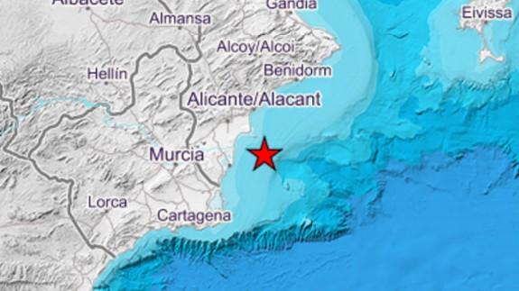 Mapa con el lugar donde se ha registrado el terremoto