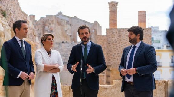 Teodoro García, Noelia Arroyo, Pablo Casado y Fernando López Miras en una imagen de archivo