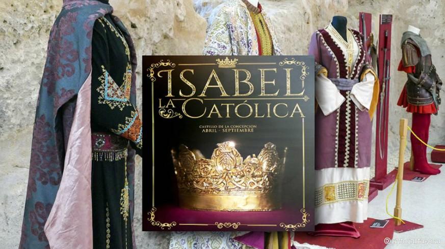 Cartel de la exposición 'Isabel la Católica' y trajes de la época