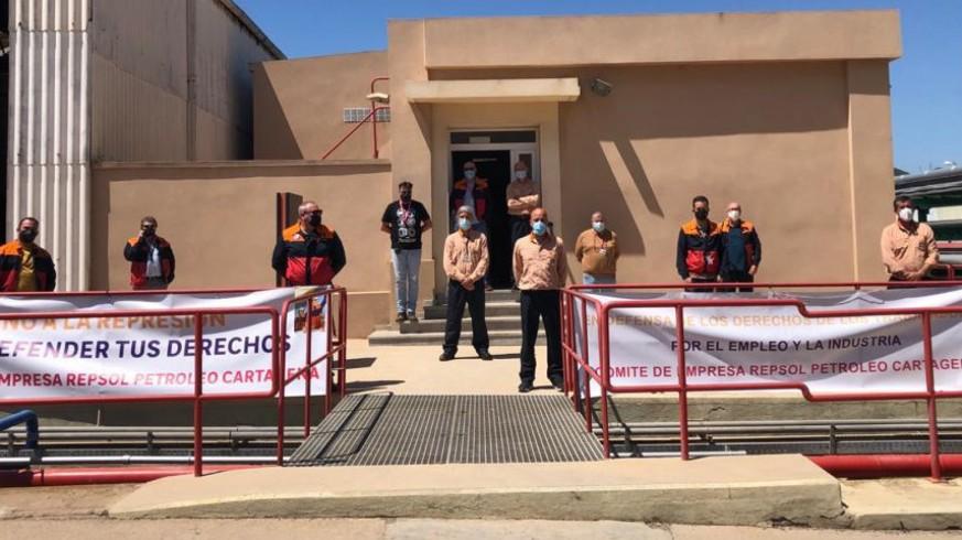 Encierro del comité de empresa de Repsol Cartagena
