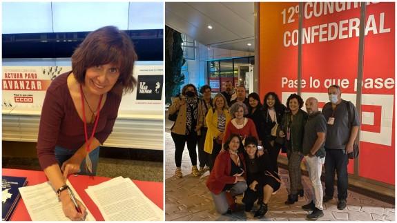Firmas en favor de la ILP del Mar Menor. A la derecha, la delegación murciana al Congreso de CCOO