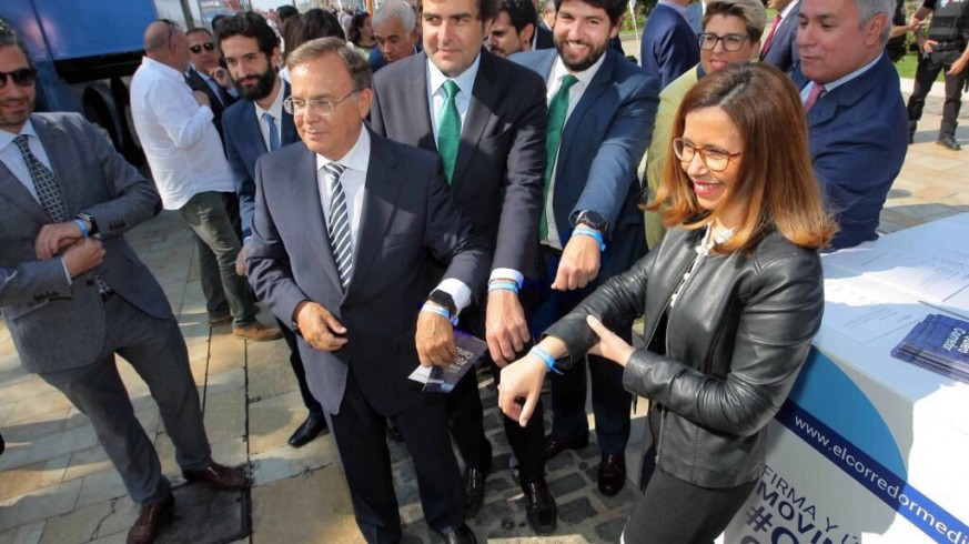 Valverde junto a Castejón el pasado 18 de mayo en un acto sobre el Corredor Mediterráneo en Cartagena