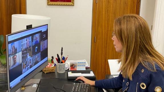 La alcaldesa de Cartagena se reunía ayer por videoconferencia con el Consorcio de La Manga