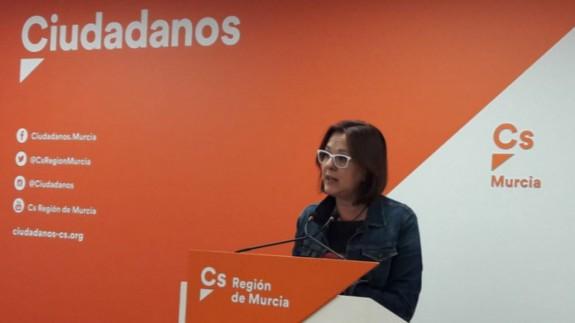Isabel Franco, durante una rueda de prensa en la sede de Cs (archivo). ORM