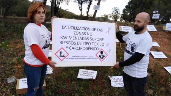 Imagen de la protesta esta mañana en Llano del Beal