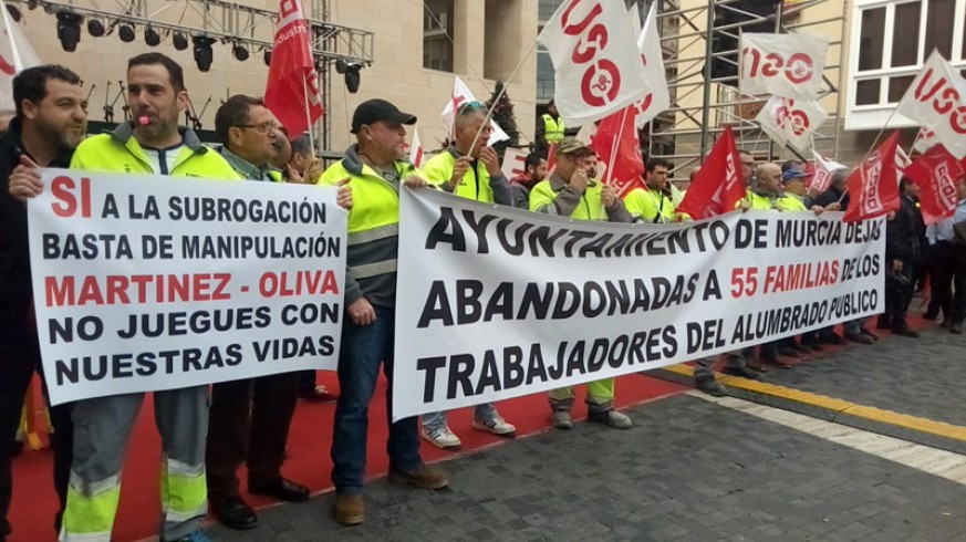 Protesta de los trabajadores de Electromur