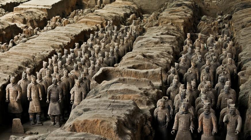 Parte del ejército de terracota del mausoleo del primer emperador de China, en Xian