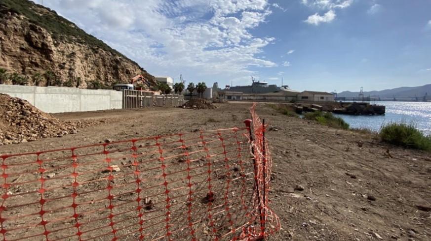 Obras del CATE en el muelle del Carbón. FOTO: MC Cartagena