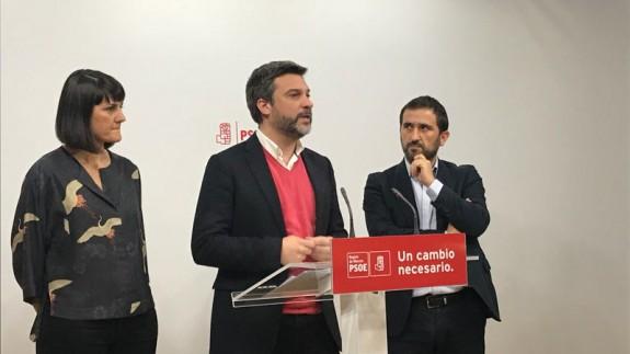 Rueda de prensa ofrecida por el PSOE este martes. ORM
