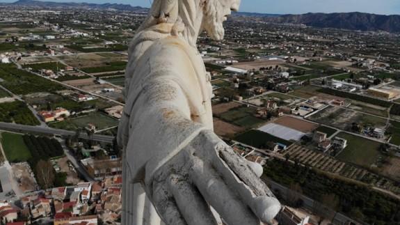 Imagen aérea del Cristo de Monteagudo. HUERMUR.