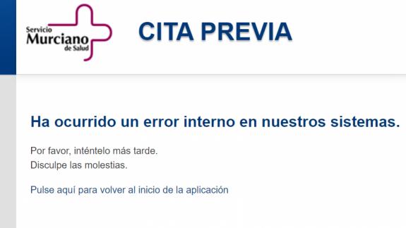 Mensaje de error al intentar acceder al servicio de cita previa
