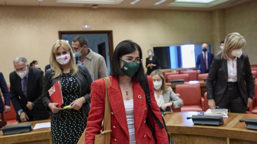La ministra Carolina Darias, a su llegada a la Comisión de Sanidad del Congreso. EUROPA PRESS