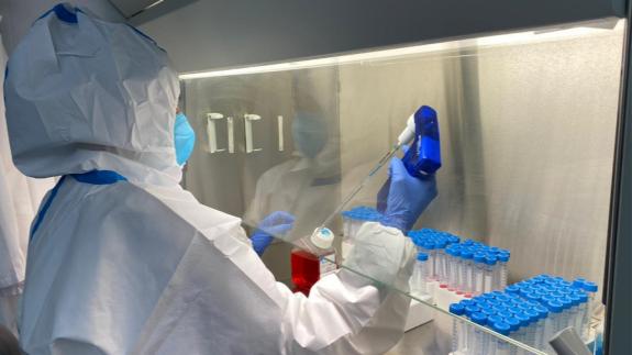 Análisis de muestras de covid en un laboratorio.