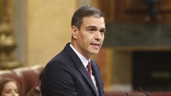 Pedro Sánchez en su discurso de investidura