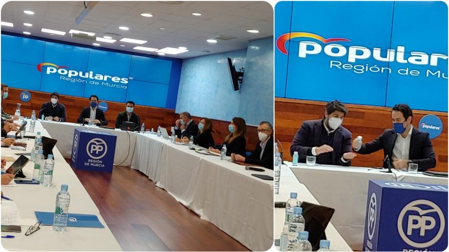 García Egea y López Miras presiden la reunión del comité de dirección del PPRM.ARG