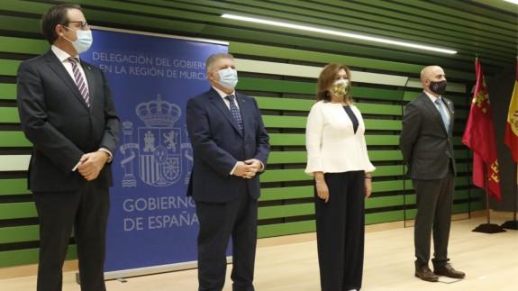 Delegado del Gobierno, José Vélez, en el acto institucional en el Edificio MOPU