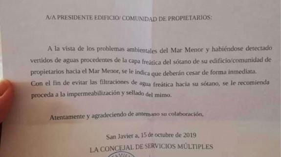 Carta enviada a una comunidad de propietarios en Santiago de la Ribera